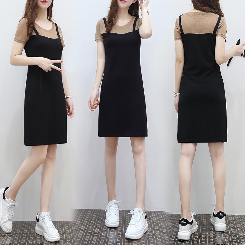 2017新款假两件套连衣裙女夏装韩版中长款显瘦背带
