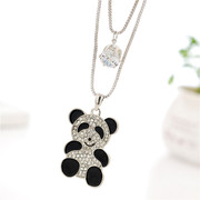 Love Korean double layer small sweater chain long necklace women wild pandas in autumn and winter fashion jewelry accessory package mail