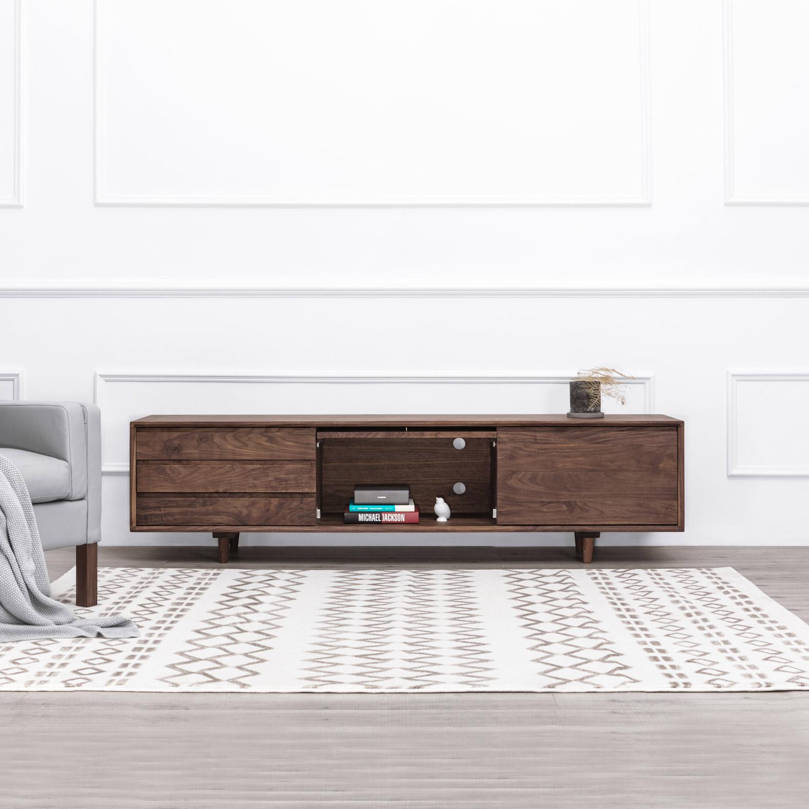 及木家具 北欧现代简约 榉木白橡 黑胡桃 2米实木客厅电视柜DG015