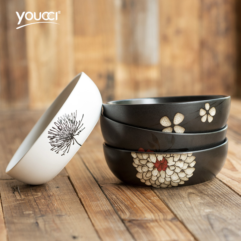 youcci悠瓷 日式创意碗 家用陶瓷碗菜碗小饭碗米饭碗面碗餐具大碗