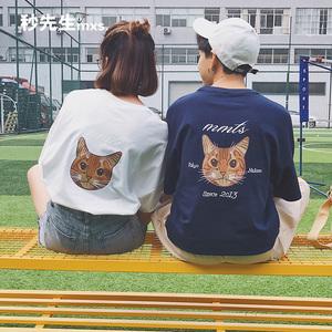 情侣装夏装T恤2017新款潮半袖韩版宽松学生爱情原宿bf韩范男短袖