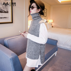 Summer of seven space space OTHERMIX2015 new front short back long knit vest, sleeveless Turtleneck Sweater women