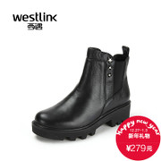New West in autumn and winter the 2015 coarse with thick round leather Chelsea boots casual short boots women's shoes at the end of the tide