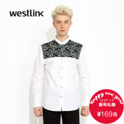 Westlink/West fall 2015 new printed stitching business casual cotton long-sleeve men's shirt