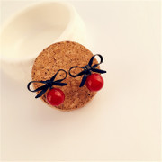 Love the Korean version of new stylish bow rhinestone flower Stud Earrings for Red Pearl sweet temperament-mail