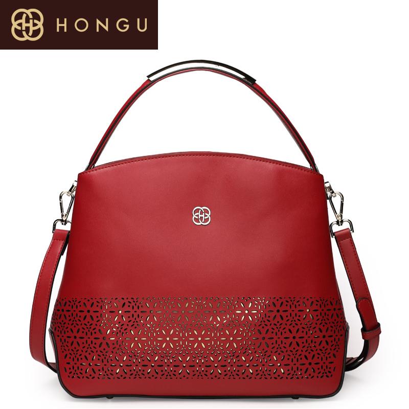 honggu红谷品牌女包镂空牛皮手拎单肩包包