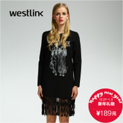 Westlink/West New portrait pattern tassel straight t-2015 winter dress women's long sleeve dress
