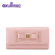 Exull q2015 new Korean cute wallets metal decorative rivets bow clutch bag 15335201