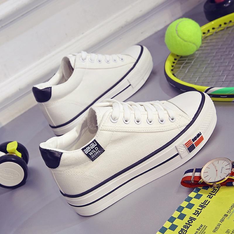 秋季韩版厚底白色帆布鞋女松糕跟内增高女鞋学生板鞋百搭小白鞋潮