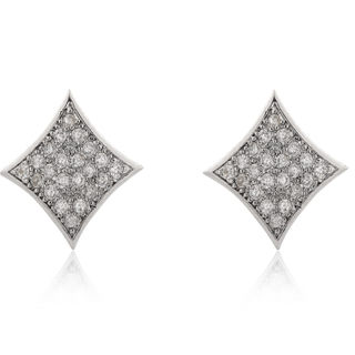 Good Japanese and Korean version genuine earring earrings fashion full diamond square earrings jewelry package mail
