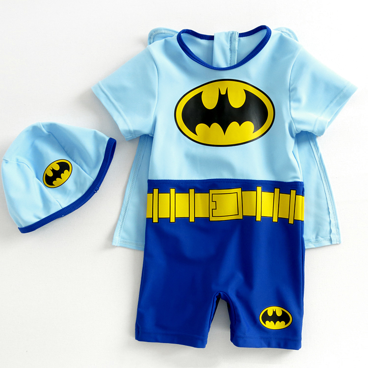 蝙蝠侠儿童泳衣 连体防晒游泳衣 男童婴幼儿小宝宝卡通造型泳衣