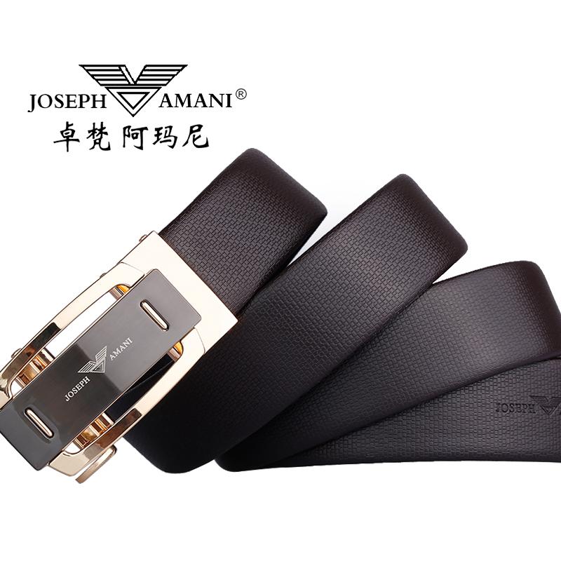 卓梵 阿玛尼正品男士皮带真皮青年腰带自动扣商务休闲纯牛皮裤带