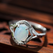Very simple natural Opal 925 Silver European wind Thailand open ring, female wild Thai silver fashion ring