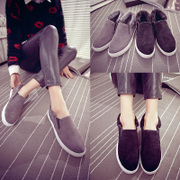 2015 the Korean version of Lok Fu shoes platform tidal flat-bottom shoes Beanie winter shoes and shoes with velvet padded shoes winter women