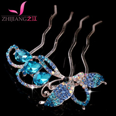 Zhijiang comb comb insert Korea rhinestone bow hair bangs combed hair accessories hairpin fork made by u-clamps headwear