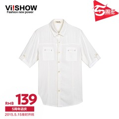 Viishow2015 summer dress New England solid color linen short sleeve shirt short sleeve shirt white shirt