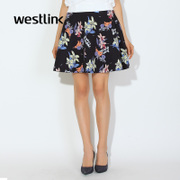 Westlink/West spring 2016 new floral printed high waist female space cotton puff skirt skirts