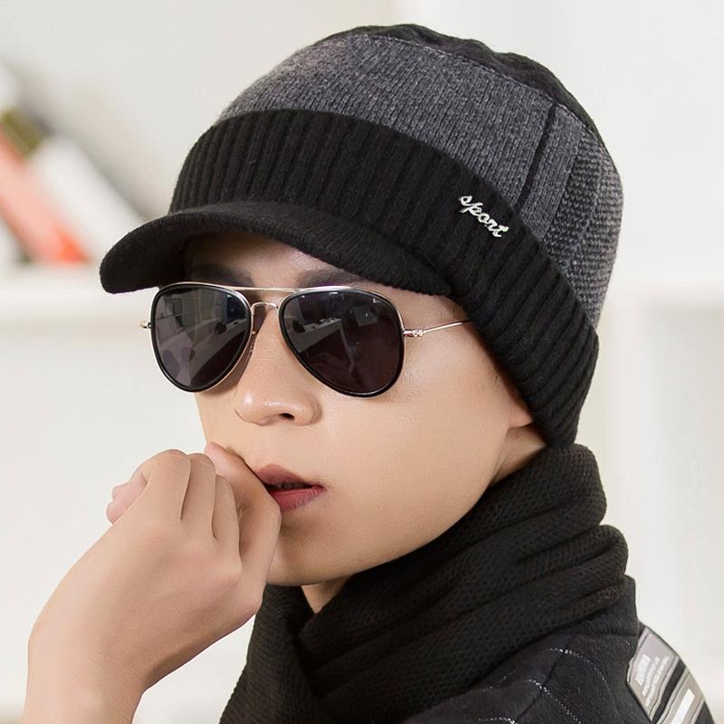 帽子男鼕天韓版潮青年保暖毛線帽男士棉帽子鼕季針織帽護耳帽休閑