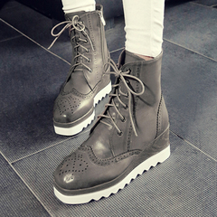 2015 new Europe in autumn and winter the wind head Martin boots lace boots vintage boots with thick soles and bare boots tide