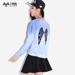 Seven space space OTHERCRAZY wings patch pattern worn t loose sweater women