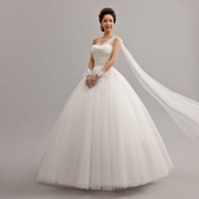 2015 new spring/summer fashion single shoulder slim size simple Korean band white bridal gown