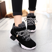 2015 winter season new Korean version of platform high casual sneakers women's shoes and wool-cotton-padded shoes students running shoes