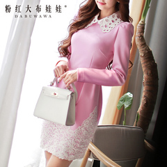 2015 summer dress Big Pink Tulip slim doll Mary Kay pink lace collar dress