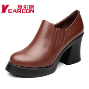 Kang shoes new genuine leather commuter rough deep in autumn and winter fashion high heel women's shoes