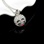 Haomei Korean fashion Joker new plated smiling sweater chain long Crystal Necklace pendants