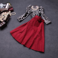 Fall/winter 2014 new European fashion retro print big temperament ladies elegant two-piece skirt suits