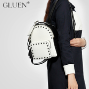 Gu Luowen rivet leather shoulder bag black and white color wind bags fashion handbags for fall/winter wild College backpack