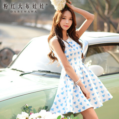 Dress is summer 2015 big pink sweet love doll new Womenswear print dress strap dresses, slim