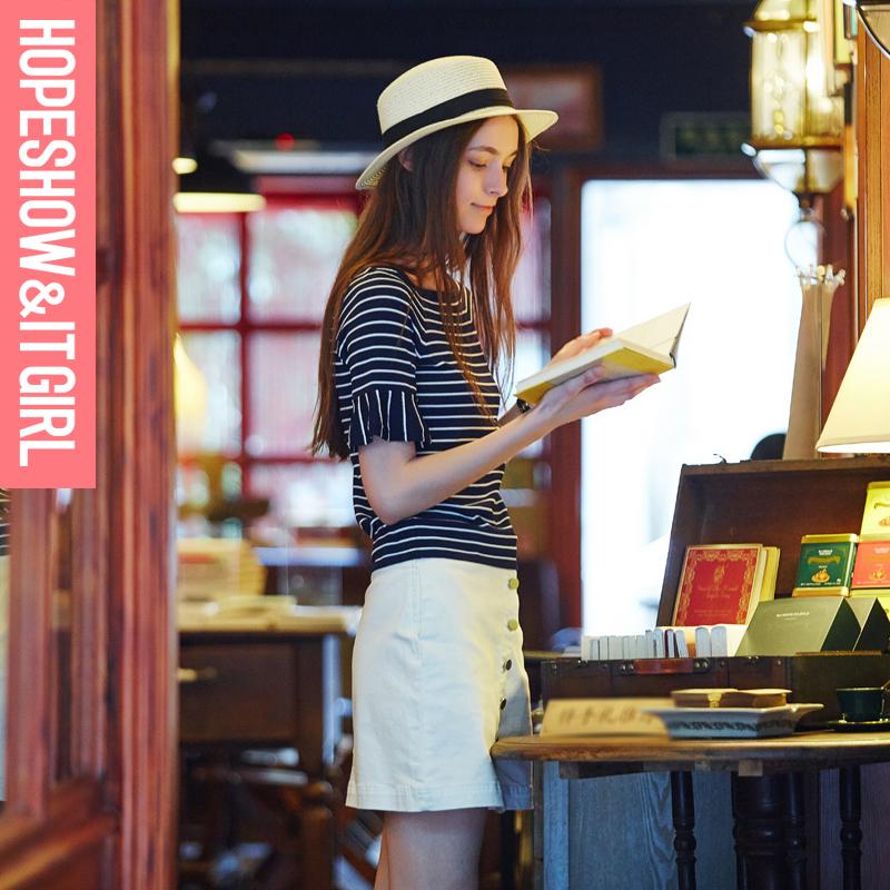 红袖2016夏装新款 修身短袖T恤女条纹百搭短款针织衫E6210Z101微