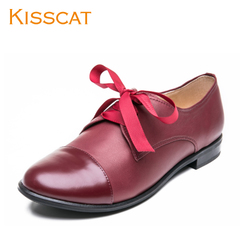 KISSCAT 2015 new leather shoes comfortable kissing cat low deep pointed lace casual shoes
