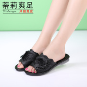 Tilly cool leather foot 2015 new summer flower slip plus size retro comfort leisure flip flops