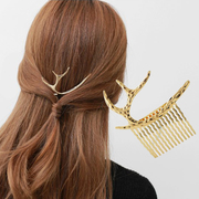 Vacation photos fashion retro Moon ARC Europe wind elk antler plug comb comb tiara girls