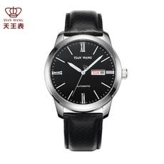 天王表秋冬新品皮带自动机械表男表休闲复古男士手表
