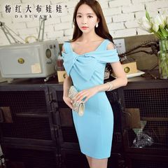 2015 summer dress big pink doll new temperament slim big bow slim dress woman