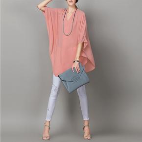 欧货精品夏装新款大码女装宽松雪纺衫高档中长款斗篷蝙蝠袖衬衫潮