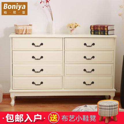 柏尼亚简约现代实木五斗柜欧式家具卧室电视柜子白色斗柜整装