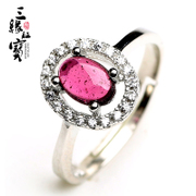 Three edge card treasure ring rose red garnet Crystal jewelry rings fashion female adjustable snare JT6