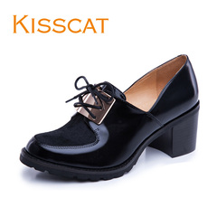 KISSCAT kissing cat 2015 new trend mosaic horse hair with deep rough heels commuting women's shoes