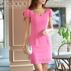 Slim dress pink summer doll new summer 2015 women's slimming qualities for hip short sleeve dress