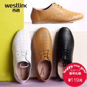 West Oxford Shoes women fall 2015 British air round head new white shoes flat shoes leather shoes with hollow