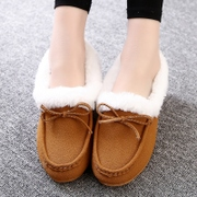 2015 winter new style women''s nubuck leather flat bottom flashes bean shoes and wool women shoes a thickened hairy warm lazy man shoes