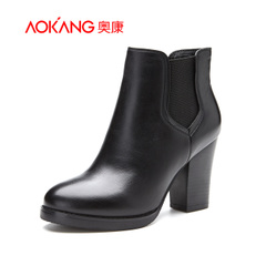 Aokang shoes 2015 fall/winter new fashion simple leather thick with round head with elastic band high heel women boots