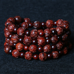 Natural high density lobular rosewood carved Lotus circle bracelet old material polished beads bracelets old customer benefits