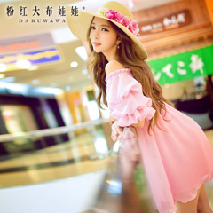 Summer skirt pink large pre-2015 summer styles dresses women's fashion doll knit BCBG dress