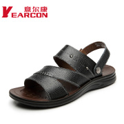 YEARCON/con men and new leather Sandals 2015 summer air flow Korean men shoes slip
