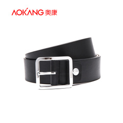 Aucom belt women's leisure youth black belt leather belts buckle the lap and leisure pin alloy wild wave
